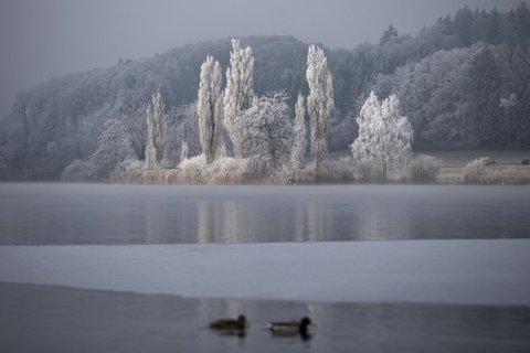 Bagno gelato di san silvestro nel lago moossee in svizzera il - San silvestro bagno di romagna ...